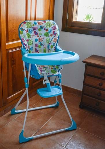 High Chair (and Infant Cot) stored in Bedroom 3