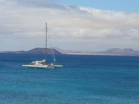 View from Playa Blanca towards Los Lobos and Fuerteventura