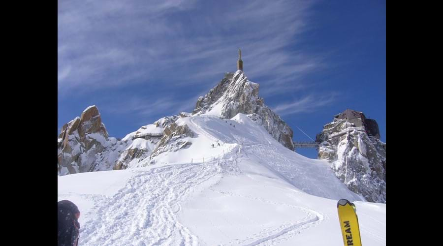 View of the Aiguille du Midi on the Vallee Blanche trail