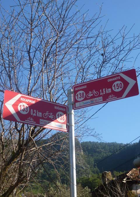 Bicycle distance markers around the village (a nice touch, but a bit confusing!)