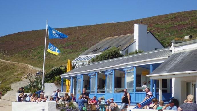 Blue Bar offers fab views over the beach.