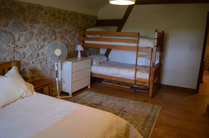 The Railway Cottage - 10 person gîte - family room with double bed and bunk beds