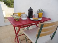 Breakfast on the private terrace.