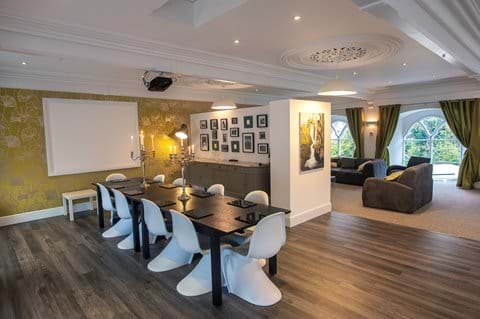 Open plan dining space, with projector