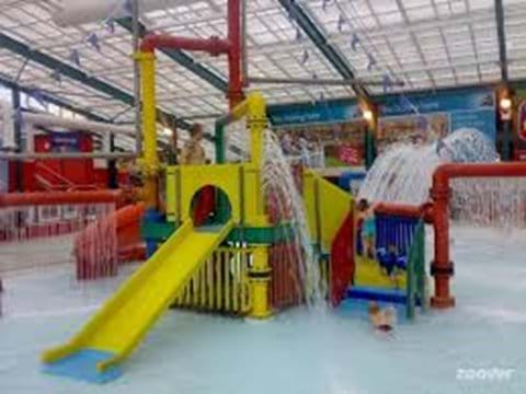 Indoor slide system for smaller children, there are additional slides around the indoor pool for all ages.