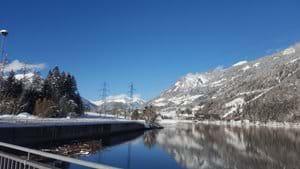 Looking across the lake towards Kolbnitz January 2021