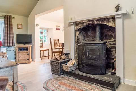 The wood burning stove provides fabulous extra heat