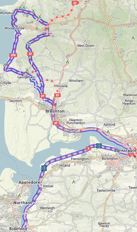 Bideford to Woolacombe - 72km round trip