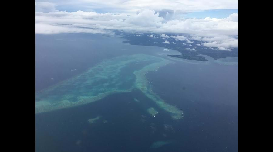 Views of the reef as you fly out of Savusavu.