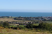 Views from the downs towards the sea.  The best route to drive to Newport and the garlic farm.
