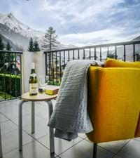 Stunning views of the Mont Blanc Range from the lounge balcony