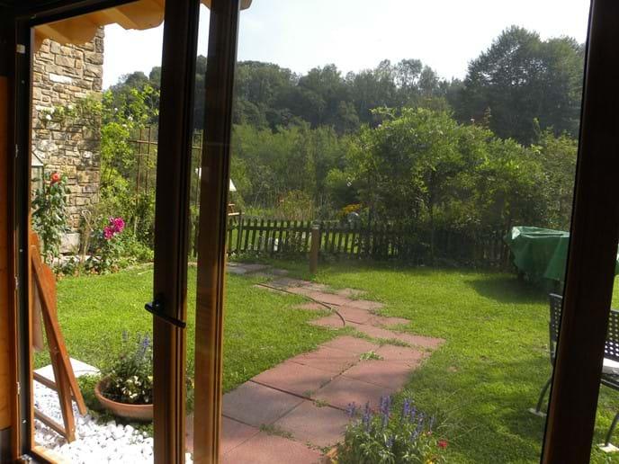 patio doors to the garden from the veranda