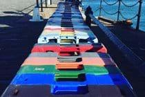 Colourful crates, Raglan Pier, Port Erin
