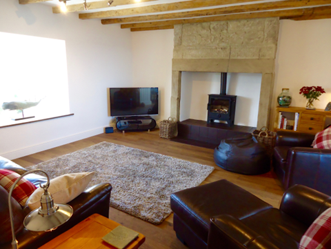 The living room is spacious, with a flat-screen smart TV with DVD and a wood-burning stove