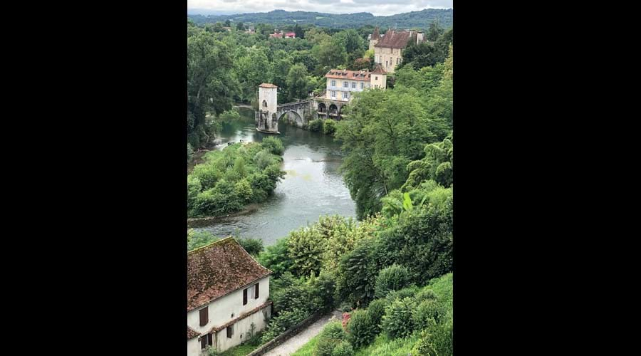 From the gardens of the Hotel de Ville, Sauveterre de Béarn, looking down on the Gave d