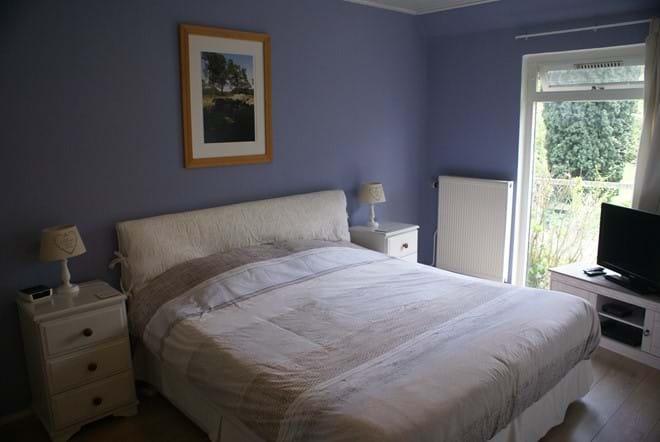 Downstairs double bedroom with built-in wardrobe, LCD tv with bluray player