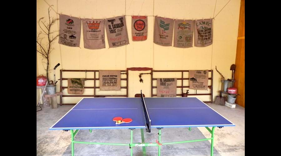 Our indoor/outdoor barn conversion offers ping pong, darts, horse shoes and game table.