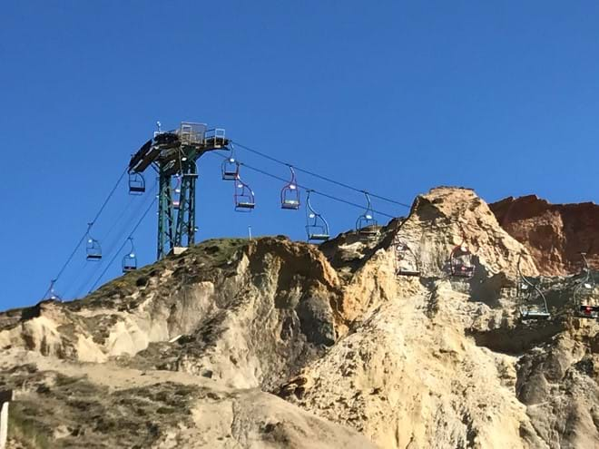 Enjoy the views from The Needles cable car