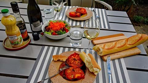 Bon Appetit.  Having lunch in the front garden March 2017