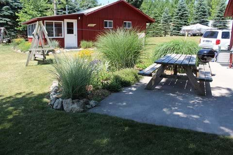 Cement Patio with picnic table and grill