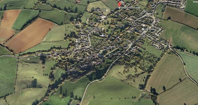 A screen shot from Google Earth to show the village of Ilmington