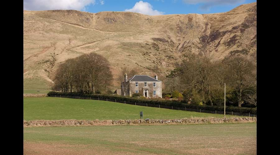 Balgedie House, from the fields with the Lomond Hills behind.