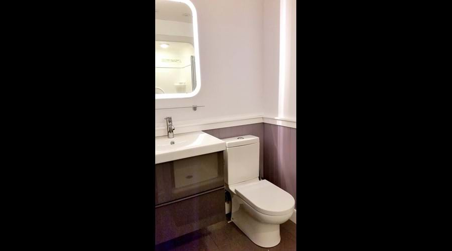 Newly constructed in 2017 a three-piece washroom located on the lower level adjacent to the Entertainment Room