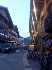 Chatel village centre summer evening