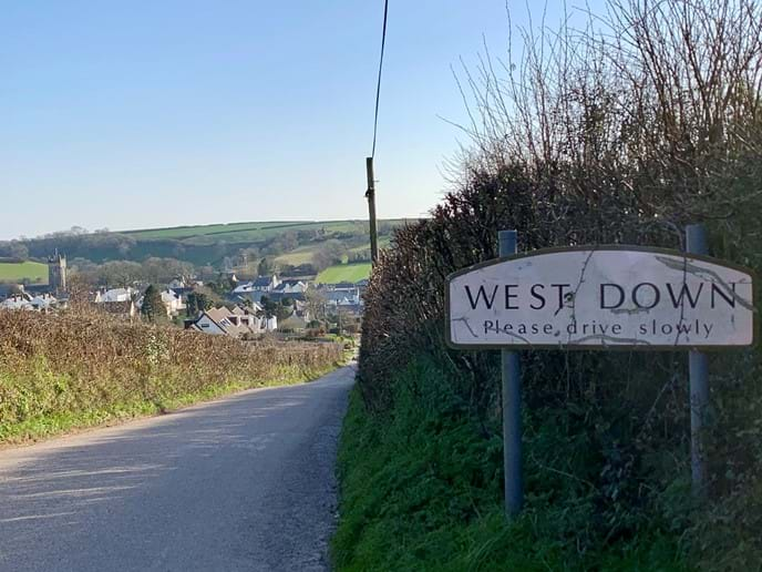 West Down village, 15 minutes walk to pub, small shop and church