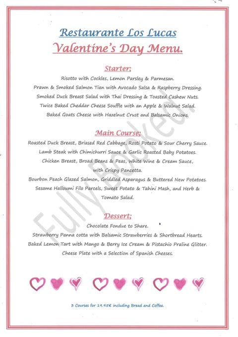 Valentines Menu 14th February 2020 - FULLY BOOKED.
