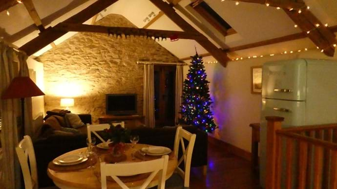 Evening at Nutcombe Cottage at Christmas