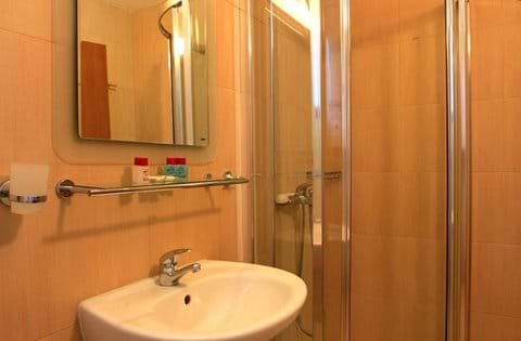shower room with shower cubicle and toilet and washbasin