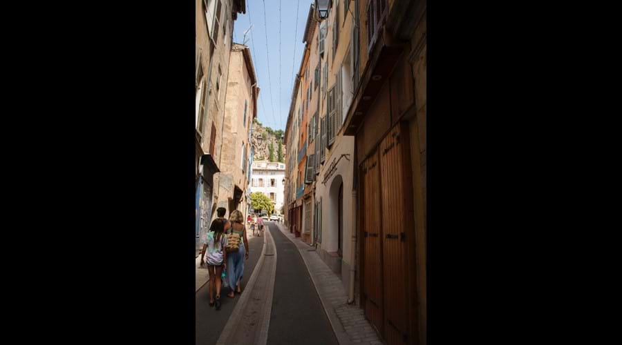 Walking up to Place de Mairie in the village (Temps de Pose is under the tree)