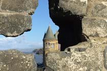Aberystwyth university through the castle ruins.
