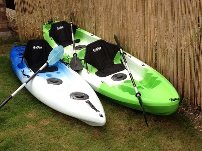 double and single kayak. Free to enjoy. We have various life jacket in the shed.