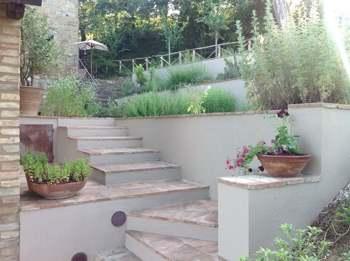 Looking up to the herb garden