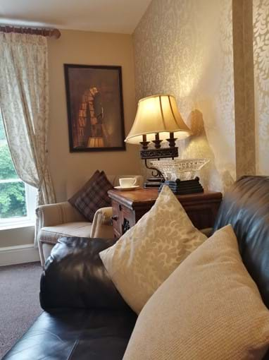 The cosy lounge at Ironbridge View Townhouse. Fabulous view of the Iron Bridge