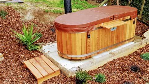 Wood fired hot tub bath