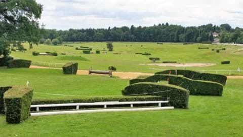 Pompadour racecourse, showing white jump and fences