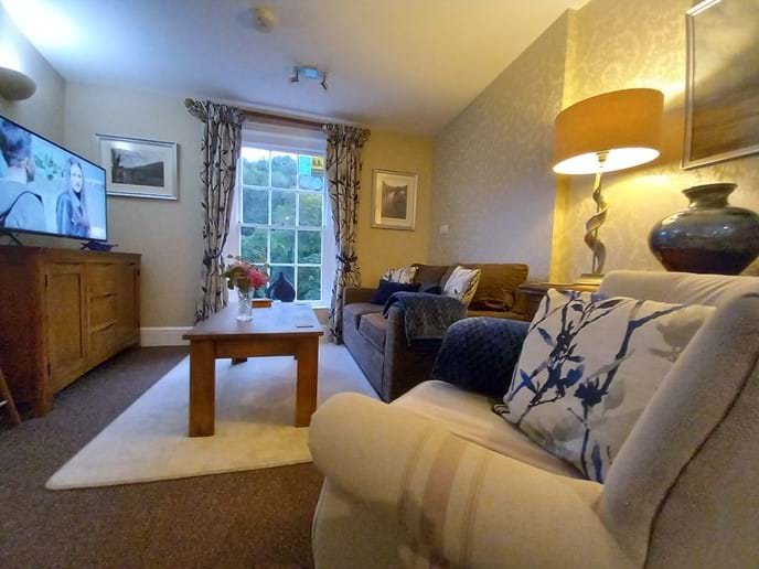 COSY LOUNGE AT IRONBRIDGE VIEW TOWNHOUSE - VIEW OF THE IRON BRIDGE FROM THE SOFA
