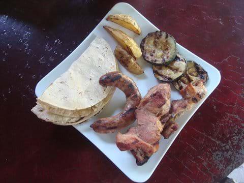 BBQ: Sausage, Pork, Potatos, Eggplant and Tortilla