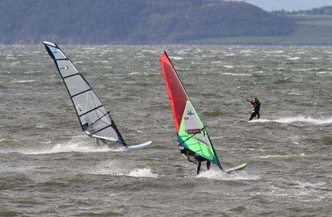 Ardersier bay is very popular with windsurfers and kite surfers