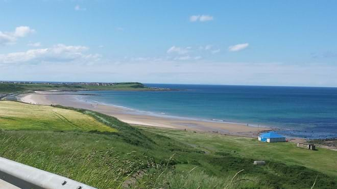View of Banff Links Beach from the road