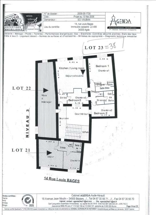 Plan of apartment layout