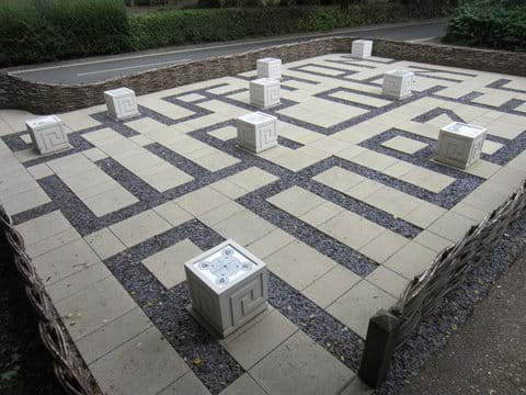 "The child-friendly maze at Swan Meadow which reads ""Saffron Walden Amazes"""