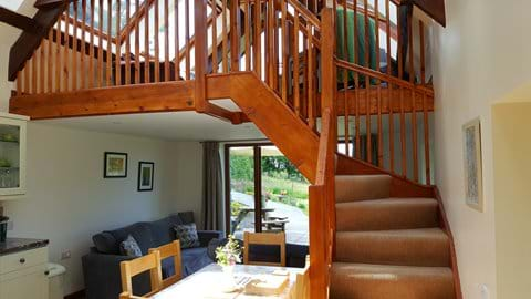 Stairs to mezzanine lounge