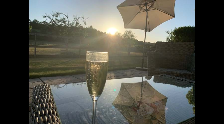 Glass of Prosecco & sunset