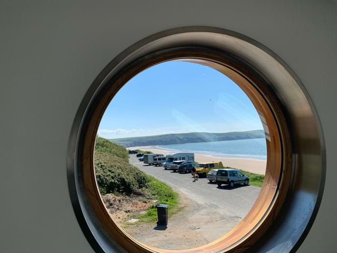 Porthole Cafe view (towards Baggy Point)