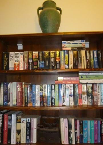 One of the villa bookshelves...nearly 300 books in the house!