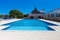 Heated outdoor pool at Polmanter Touring Park (available late May-September)